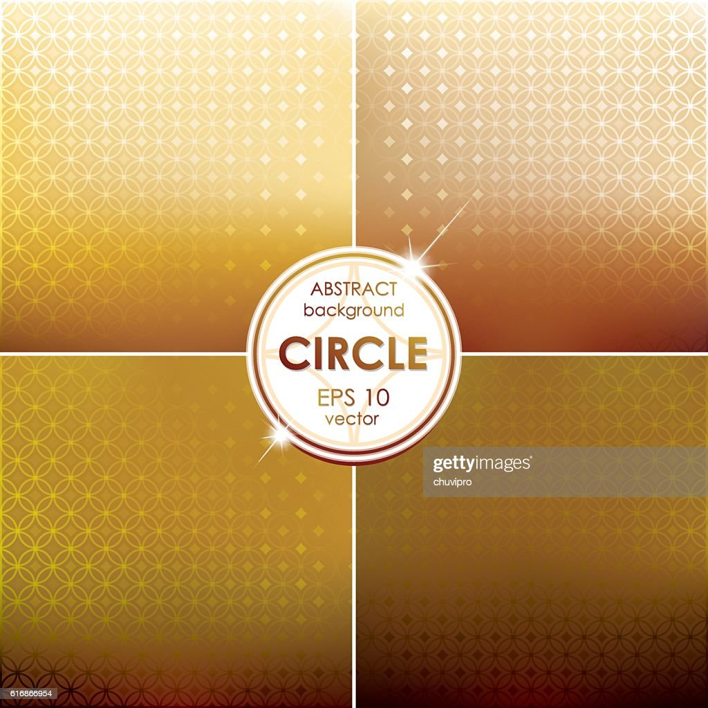 Abstract Circle shaped backgrounds set Yellow-Brown Palette : Vector Art