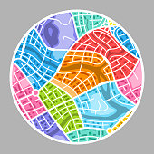 Abstract city map background. Color plan of town districts.