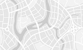 Abstract city map banner. Illustration of streets, roads and buildings.
