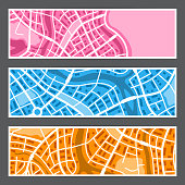 Abstract city map banners. Illustration of streets, roads and buildings.