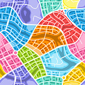 Abstract city map seamless pattern. Color plan of town districts.