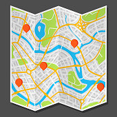 Abstract city map with markers. Illustration of streets, roads and buildings.