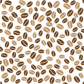 Abstract coffee beans pattern on white background. Vector illustration