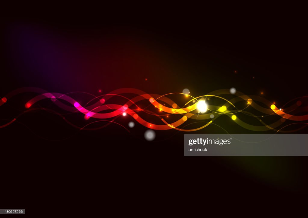 Abstract color glowing lines in dark space with stars and : Vector Art