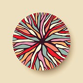 Abstract geometric circle shape with colorful tree branch illustration ideal for creative diversity design. EPS10 vector.