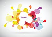 Abstract colored background with leafs and communication bubble for your text.