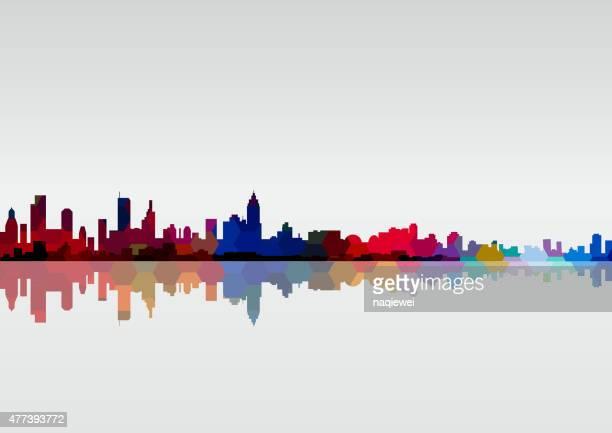 Abstraite colorée ville de Panorama fond à motif