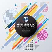 Abstract colorful color circle geometric pattern design and background. Use for modern design, cover, poster, template, decorated, brochure, flyer. Vector illustration