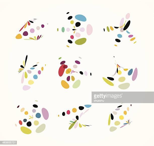 Abstracto colorido puntos forma señal