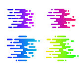 Abstract colorful gradient signs for your design. Speed icons set. Motion bright background.