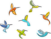 Abstract colorful hummingbirds set isolated on white background