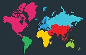 Abstract colorful polygonal world map, continents,  isolated on dark grey background. Vector Illustration.