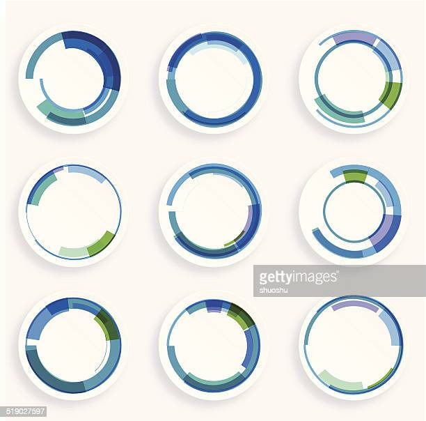 abstract colorful retro circle pattern icon for design