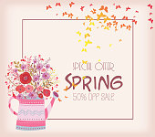 abstract Colorful spring background with butterfly and flowers