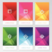 abstract colorful user interface template set collection labels in geometric triangular pattern with trendy white thin line design element icon symbols. Red, pink, golden, green, blue and purple color