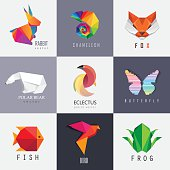 Abstract colorful vibrant animal icon design set collection. Rabbit, chameleon, red fox, polar bear, parrot, butterfly, fish, bird and frog designs