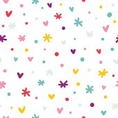Abstract confetti, hearts and stars seamless pattern