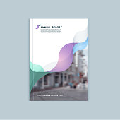 Abstract cover design, business brochure template, layout, report, magazine or booklet in A4 with blue green blurred dynamic waves, soft lines and smooth forms. Vector.