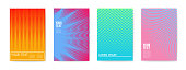 Abstract Creative Cards Placards Posters Set. Trendy Halftone Gradient Design for Banners, Cover, Invitation. Hipster Brochure, Flyer, Leaflet. Vector illustration