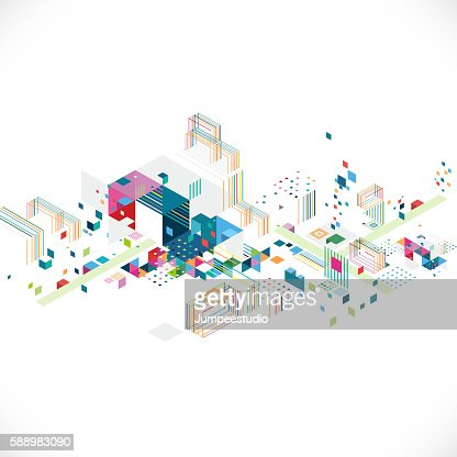 abstract creative geometrical architect and city concept : Vector Art