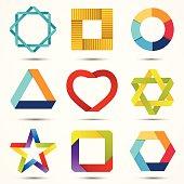 Modern vector creative abstract design symbols set