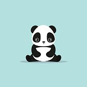 absctract cute panda on a blue background