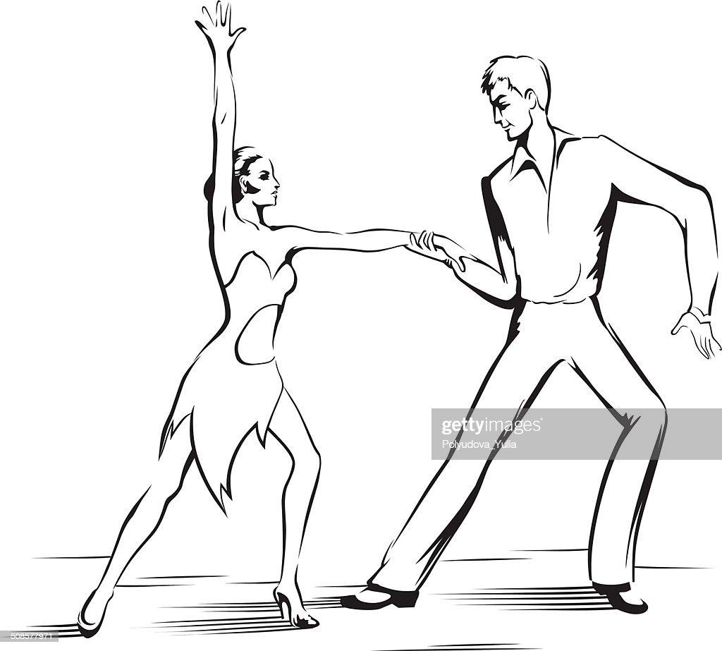抽象的なダンスカップル : ベクトルアート