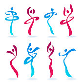 Abstract Dancing People women silhouettes for your logo, labels, emblems