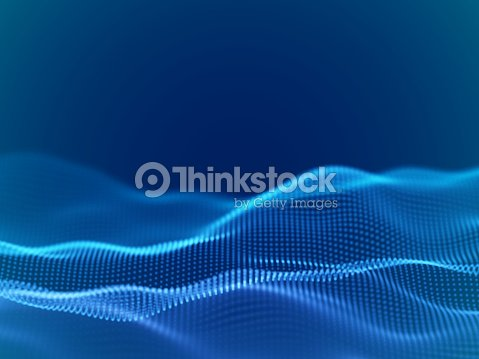 Abstract digital landscape or waves with flowing particles : stock vector