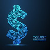 Abstract dollar sign, vector illustration. Network connections with points and lines. Abstract technology background.