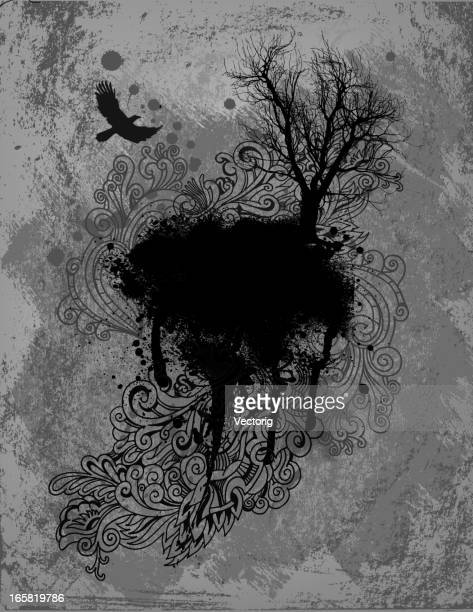 Abstract drawing showing a crow flying near a tree