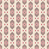 Abstract ethnic geometric pattern. Regularly repeating lines, rhombuses and triangles. Tribal decorative pattern. Vector color background.