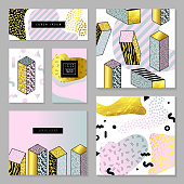 Abstract Event Cards with Golden Glitter Texture. Poster Design Cover Business Brochure Template Set with Geometric Elements. Vector illustration