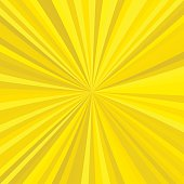 Yellow abstract explosion background from radial stripes - vector graphic