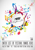 Abstract festival invitation background template with tunes.