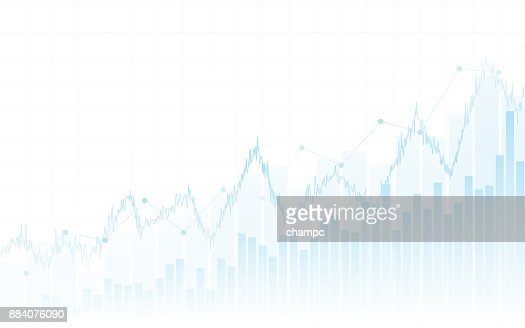 Abstract financial chart with up trend line graph and bar chart in stock market on white color background : stock vector