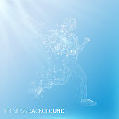 Abstract fitness background. Cover template. Low poly white jogging girls silhouette with wings of triangular particles on blue background