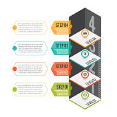 Vector isometric cartoon illustration of abstract level infographic design element.