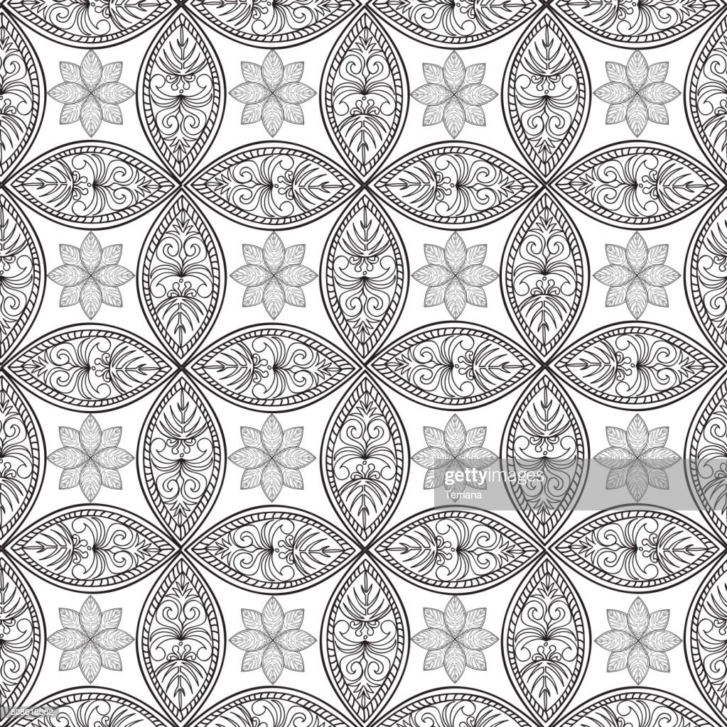 Abstract floral geometric pattern. Outline asian ornament : Vector Art