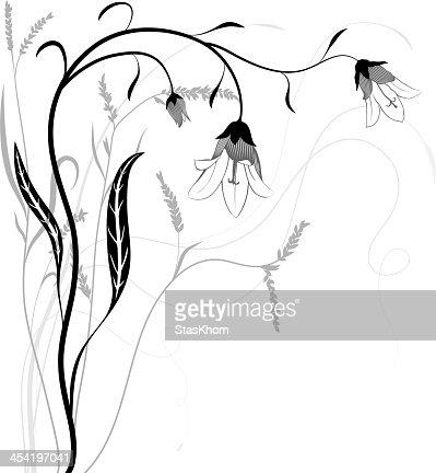 Abstract floral para el diseño ilustración con bluebells. Vector : Arte vectorial