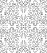 Floral pattern with damask. Seamless filigree ornament. Black and white template for wallpaper, textile, shawl, carpet.