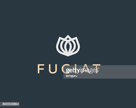Abstract flower vector logotype. Elegant crown linear symbol. Premium icon logo. : Arte vettoriale
