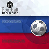 Abstract soccer ball graphic template background with white blue and red flag stripe and space for text copy