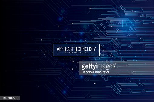 Abstract futuristic circuit board, high computer technology dark blue background : Vector Art
