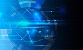 Abstract futuristic- technology on blue color background