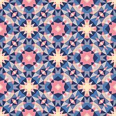 Abstract geometric background - seamless vector pattern in violet, pink, lilac and blue colors. Ethnic boho style. Mosaic ornament structure. Carpet fragment.