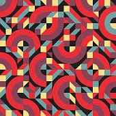 Abstract geometric background vector seamless pattern in fashion retro style of design group 80s for fabric, paper print and website backdrop.