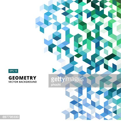 abstract geometric blue and green bricks, triangle, cube, 3d Vector : stock vector