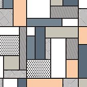 Seamless pattern inspired by cubism, which uses rectangular shapes filled with colors and textures according to the collection. This pattern is part of the original abstract collection