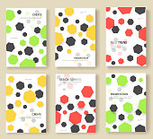 Abstract geometric pattern cards set. Shape colors template of flyer, magazines, posters, book cover, banners. Graphic invitation concept background. Layout quality modern.